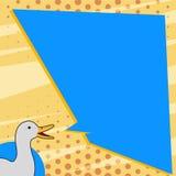 Duck Talking branco com bolha desigual do discurso da forma Ilustração das aves aquáticas que fala com o texto vazio da cor sólid ilustração royalty free