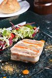 Duck terrine. With salad on dark slate Stock Images