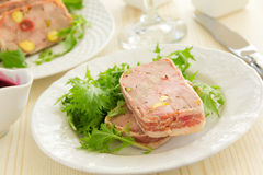 Duck terrine. With pistachios and cherries Royalty Free Stock Photography
