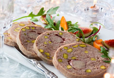 Duck terrine. With pistachios for Christmas dinner Stock Images
