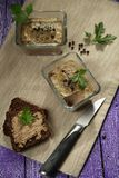 Duck terrine. With rye bread Stock Photography