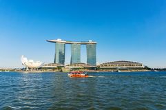 Duck Tour amphibious boat, Marina Bay Sands on sunny day Royalty Free Stock Image