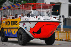Duck Tour Amphibious Ride. A photo taken on the amphibious ride vehicle of Duck Tours in Singapore stock photo