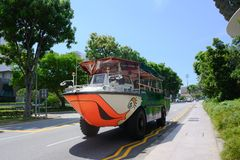 Duck tour with amphibious vehicle in Singapore. Duck tour, fun tour with amphibious car in Singapore royalty free stock photos