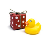Duck Toy And Gift Royalty Free Stock Photography