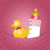 Duck toy with bottle for Newborn Stock Image