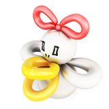 Duck twisted balloons  on white background. 3d rendering Stock Photography