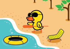 Duck vacation in summer with rubber boat Stock Image
