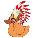 Yellow duck with war bonnet hat and tomahawk. Duck with war bonnet hat and tomahawk duck with war bonnet hat and tomahawk vector illustration