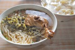 Duck Wing rice noodle soup. Chinese cuisine Duck Wing rice noodle soup stock photo