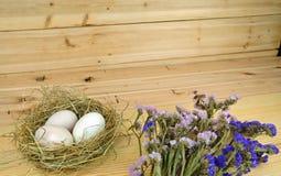 Ducken Sie Eier in einem Nest mit hölzernem Hintergrund Lizenzfreie Stockfotografie
