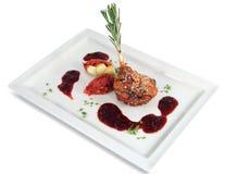 Ducken Sie Trommelstock mit Apfelwein die Chutney- und Preiselbeersoße. Lizenzfreie Stockbilder