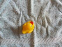 Duckie de borracha amarelo na toalha de rosto azul Imagem de Stock Royalty Free
