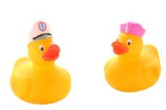 Duckies en caoutchouc jaunes photographie stock libre de droits