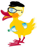Duckling bespectacled and cap Stock Photos