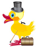 Duckling with cylinder on head and valise Stock Images