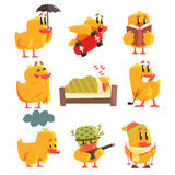 Duckling Different Activities Set Of Cute Character Stickers Stock Photography