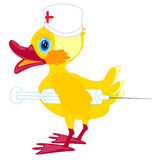 Duckling doctor with syringe Royalty Free Stock Photos
