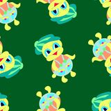 Duckling green pattern illustration stock illustration