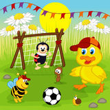 Duckling and insects play football Stock Image