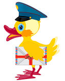Duckling postman with envelope Stock Image
