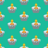 Duckling takes a bath seamless pattern Royalty Free Stock Images