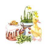 Duckling watercolor illustration. Easter set. Hand painted card with traditional symbols isolated on white background.
