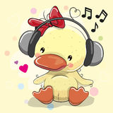 Ducklingl Girl with headphones and hearts stock illustration