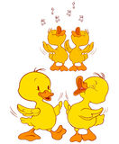 Ducklings. A illustration of duckling characters having fun Stock Photos
