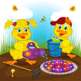 Ducklings boy and girl watering flowers Stock Photo