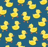 Ducklings, seamless pattern, color, blue, vector. Yellow cheerful ducklings. Color, flat picture. Vector, flat seamless background stock illustration