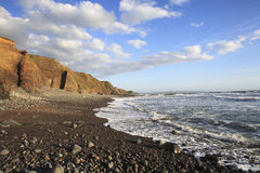 Duckpool往bude康沃尔郡英国的海滩标题 库存图片