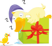 Ducks. An illustration of two ducks and a present Royalty Free Stock Image