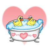 Ducks in bathroom. Color illustration of ducks in bathroom Royalty Free Stock Photo
