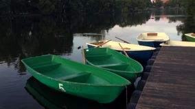 Ducks and boats at sunset stock footage