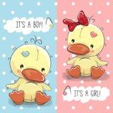Ducks boy and girl royalty free illustration