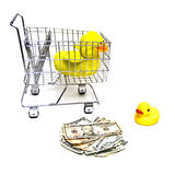Ducks, Cart, Money Stock Photo