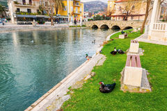 Ducks in a city park in Solin, Croatia, enjoying by the water. SOLIN, CROATIA - FEBRUARY 26, 2015: Ducks in a city park in Solin, Croatia, enjoying by the water Royalty Free Stock Photography