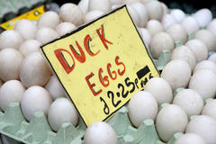 Ducks eggs. For sale at farmer market Stock Photography