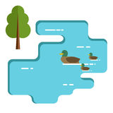 Ducks family swimming in the lake. Flat illustration. Royalty Free Stock Image