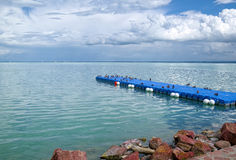 Ducks on the floating pier at Balaton lake, Hungary. Skyline filled with heavy clouds Stock Photos