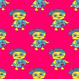 Ducks on a pink background seamless bright pattern. Quality vector illustration for your design Royalty Free Stock Photo