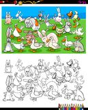 Ducks and rabbits characters coloring book Royalty Free Stock Photos