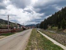 Railyard. Railroad narrow for locomotive called `Mocanita Hutulca Royalty Free Stock Image