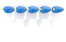 Ducks In A row. A row of organised and ready blue rubber bath duck toys on an isolated background - 3D render vector illustration