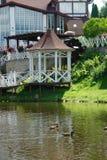 Ducks swimming near lake house Stock Images