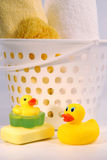 Ducks with towels Royalty Free Stock Images
