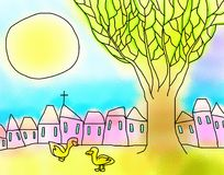 Ducks Tree Houses Sun Drawing Royalty Free Stock Photo