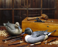 Ducks Unlimited. Carved ducks by a master carver Stock Photos