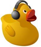 Ducky de goma con los auriculares Fotografía de archivo libre de regalías